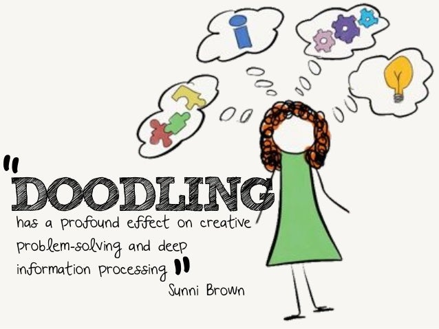 """DOODLING  has a profound effect on creative  problem-solving and deep  information processing  """"  """"  Sunni Brown"""