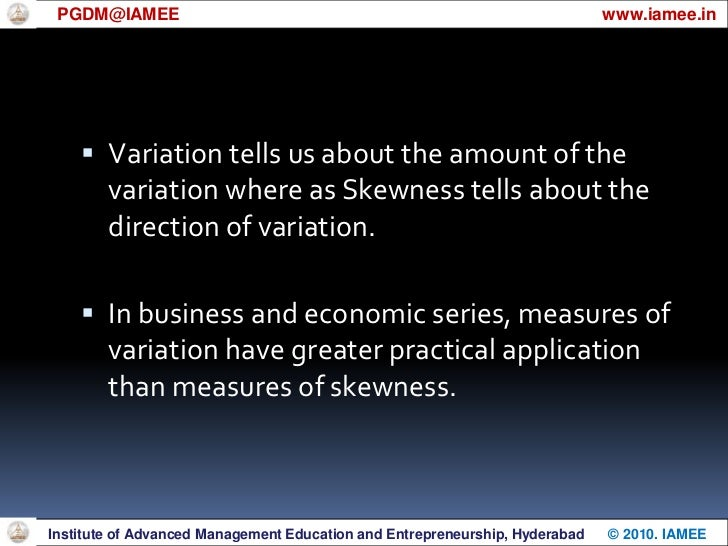 Measures of Skewness<br />For an asymmetrical distribution, the distance b/w Mean and Mode may be used to measure the de...