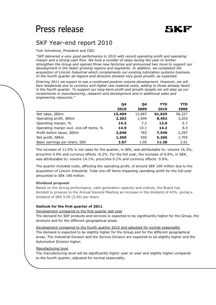 """SKF Year-end report 2010Tom Johnstone, President and CEO:""""SKF delivered a very good performance in 2010 with record operat..."""