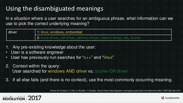 Using the disambiguated meanings In a situation where a user searches for an ambiguous phrase, what information can we use...