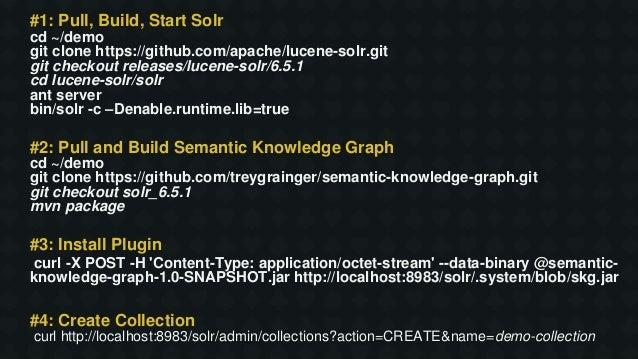 #1: Pull, Build, Start Solr cd ~/demo git clone https://github.com/apache/lucene-solr.git git checkout releases/lucene-sol...