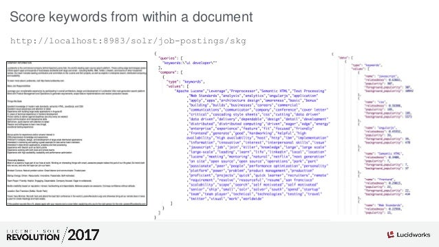 Score keywords from within a document http://localhost:8983/solr/job-postings/skg