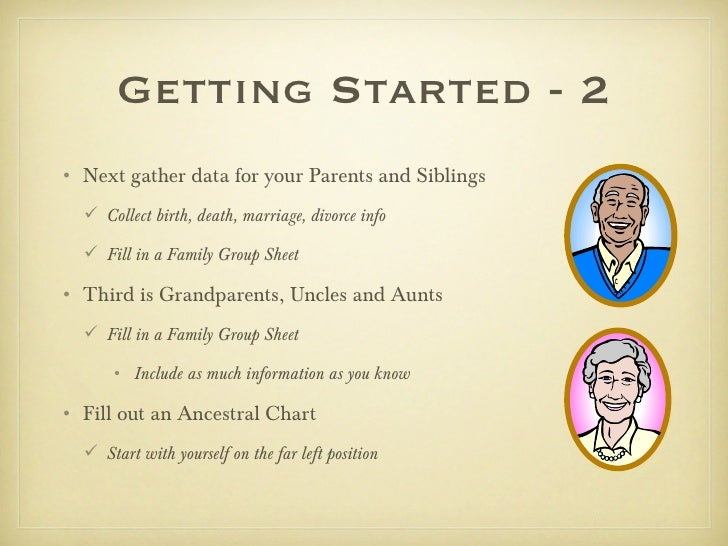 Getting Started - 2• Next gather data for your Parents and Siblings   Collect birth, death, marriage, divorce info   Fil...