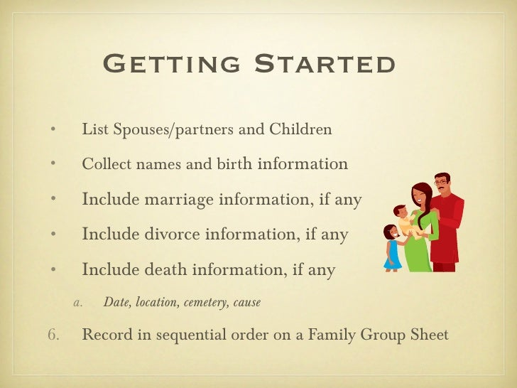 Getting Started•     List Spouses/partners and Children•     Collect names and birth information•     Include marriage inf...
