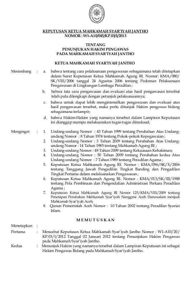 KEPUTUSAN KETUA MAHKAMAH SYAR'IYAH JANTHONOMOR : W1-A10/045/KP.03/I/2013TENTANGPENUNJUKAN HAKIM PENGAWASPADA MAHKAMAH SYAR...