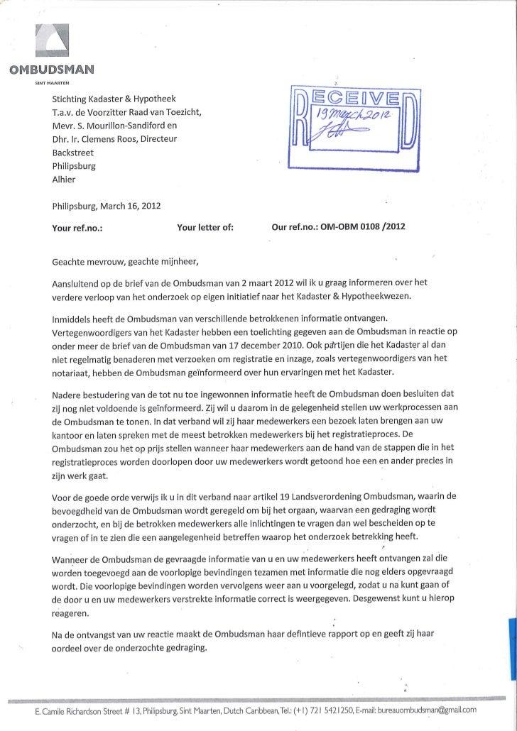 Ombudsman Recieves Letter On Kadaster & Public Registries
