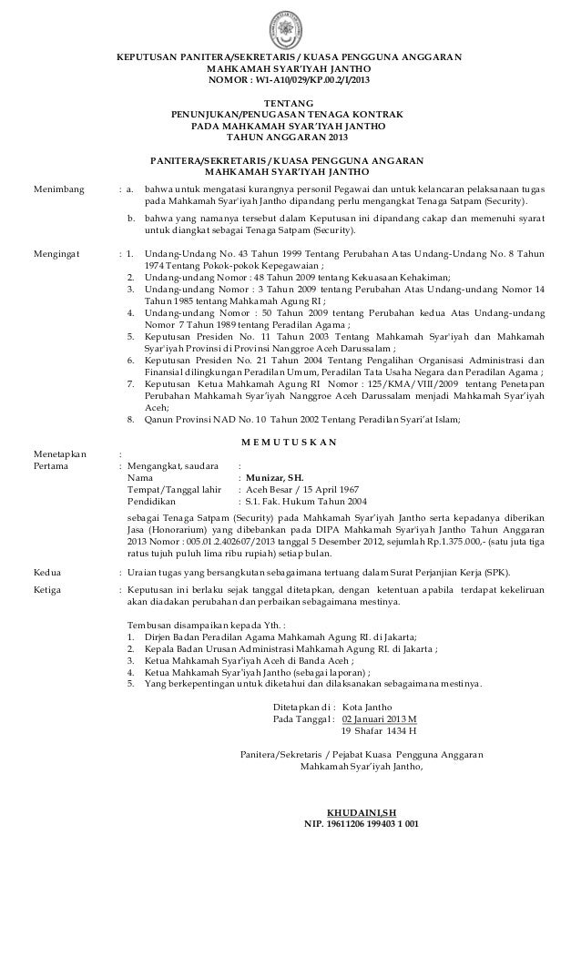 KEPUTUSAN PANITERA/SEKRETARIS / KUASA PENGGUNA ANGGARANMAHKAMAH SYAR'IYAH JANTHONOMOR : W1-A10/029/KP.00.2/I/2013TENTANGPE...