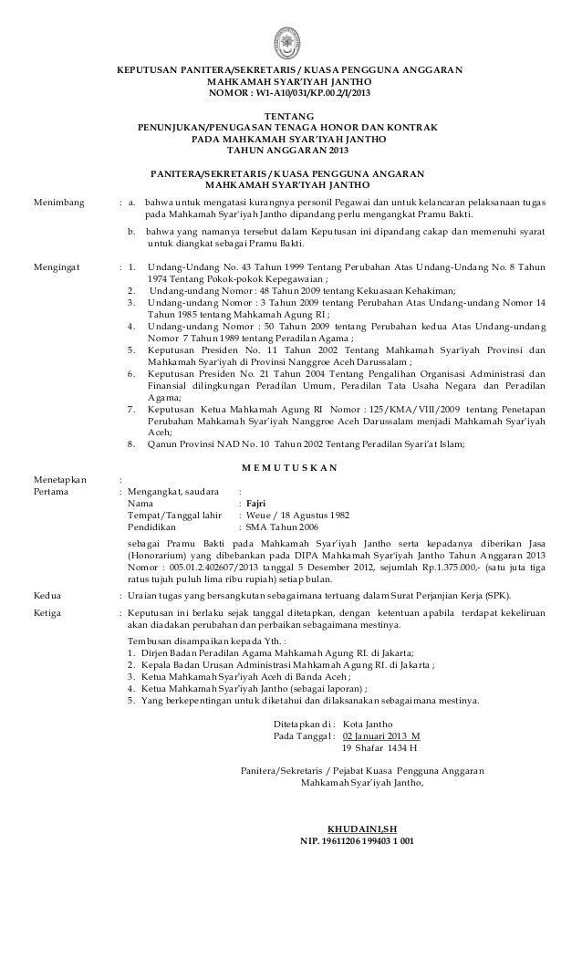 Contoh Surat Perjanjian Kontrak Kerja Tenaga Honorer Contoh Seputar Surat