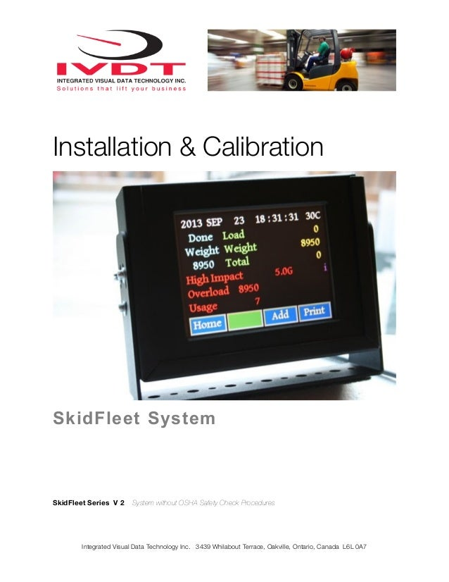 Installation & Calibration  SkidFleet System  SkidFleet Series V 2  System without OSHA Safety Check Procedures  Integrate...