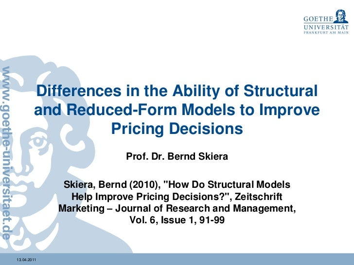 Optimal Pricing: Understanding Differences between Structural Models …