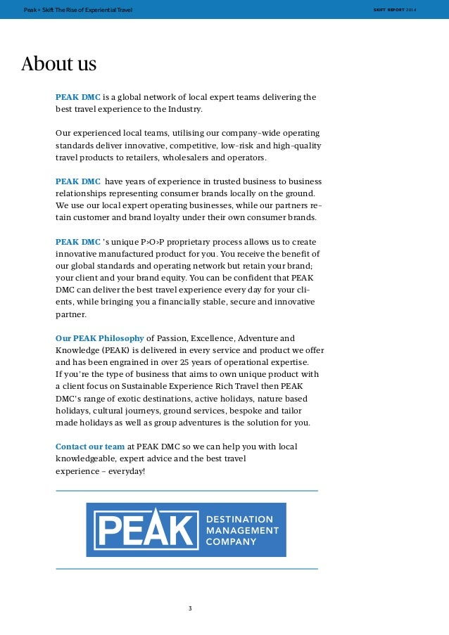 Skift peak free report the rise of experiential travel travel skift report 2014 2 3 freerunsca Image collections
