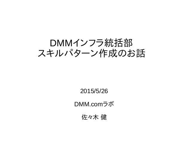 DMMインフラ統括部 スキルパターン作成のお話 2015/5/26 DMM.comラボ 佐々木 健