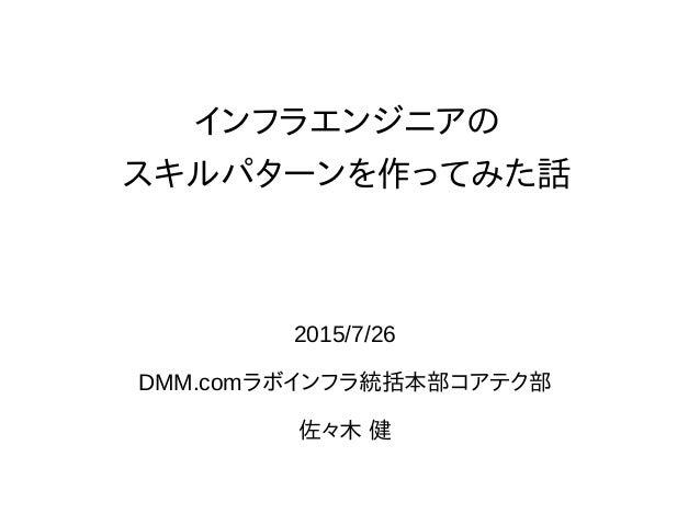 インフラエンジニアの スキルパターンを作ってみた話 2015/7/26 DMM.comラボインフラ統括本部コアテク部 佐々木 健