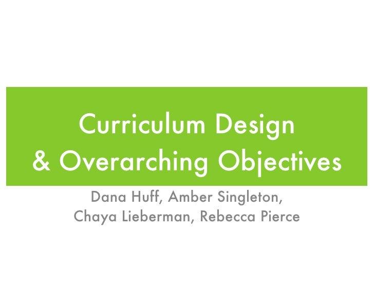 Curriculum Design & Overarching Objectives      Dana Huff, Amber Singleton,    Chaya Lieberman, Rebecca Pierce