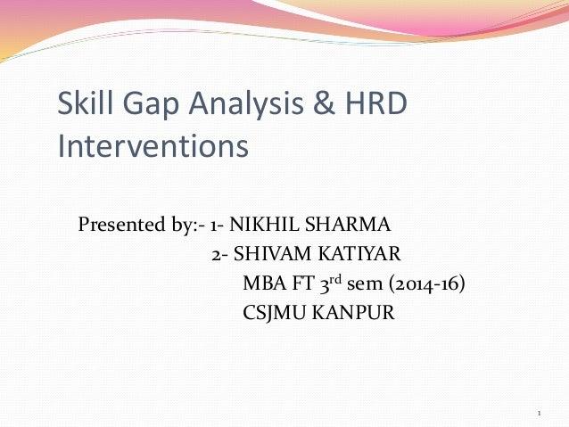 Skill Gap Analysis & HRD Interventions Presented by:- 1- NIKHIL SHARMA 2- SHIVAM KATIYAR MBA FT 3rd sem (2014-16) CSJMU KA...