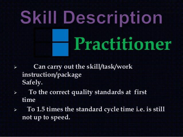 Practitioner  Can carry out the skill/task/work instruction/package Safely.  To the correct quality standards at first t...