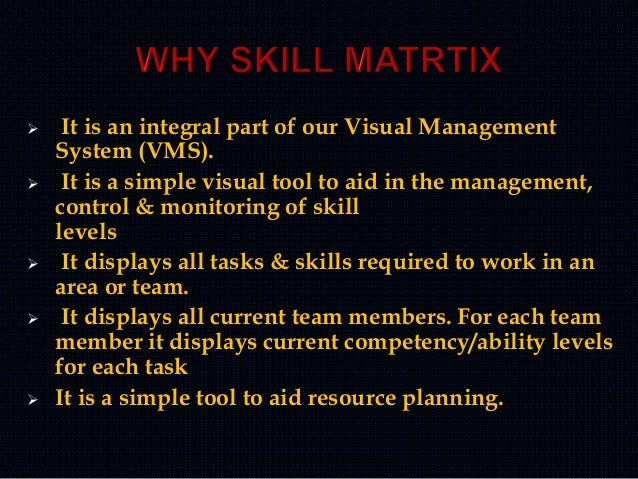  It is an integral part of our Visual Management System (VMS).  It is a simple visual tool to aid in the management, con...
