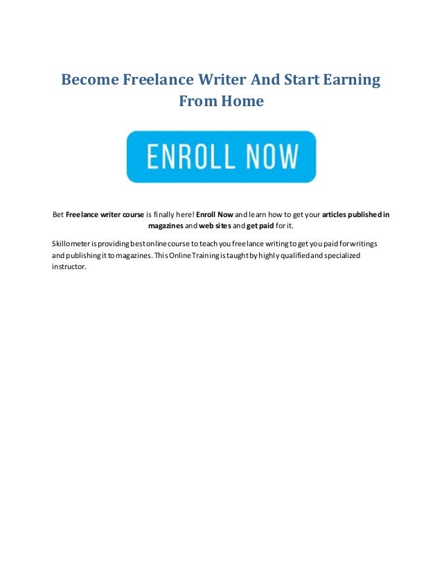 Become Freelance Writer And Start Earning From Home Bet Freelance writer course is finally here! Enroll Now and learn how ...