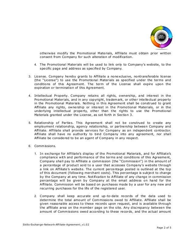 Skills Exchange Network Affiliate Agreement V102