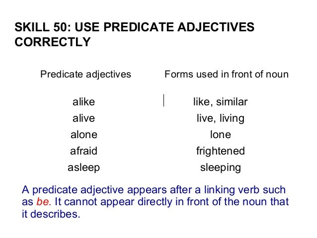 predicate adjective related keywords predicate adjective