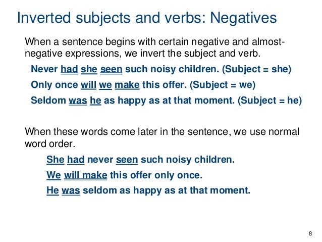 how to write a sentence in inverted order