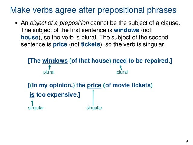 subject and verbs prepositional verbs Subject(verb+agreement+–interveningprepositions+++++1+ + subject-verb agreement – intervening prepositional phrases the verb of a sentence must always agree with the subject of the sentence, not with the object of a.