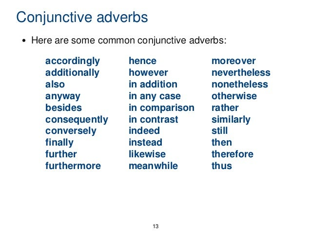 defining conjunctive adverbs of purpose daily grammar lesson