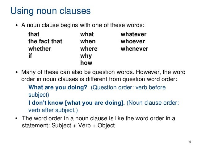 noun clauses What are clauses (with examples) a clause is a group of words that includes a subject and a verb a clause can be distinguished from a phrase, which does not contain a subject and a verb (eg, in the afternoon, drinking from the bowl).