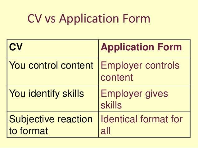 CV Vs Application ...