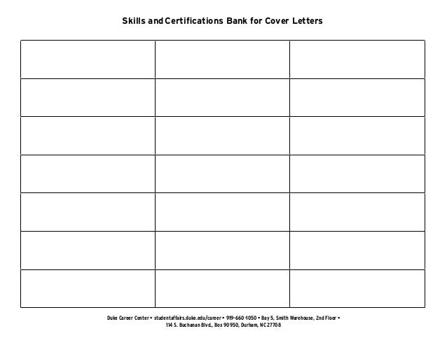 2 Skills And Certifications Bank For Cover Letters Duke Career Center