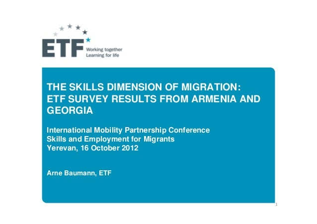 THE SKILLS DIMENSION OF MIGRATION:ETF SURVEY RESULTS FROM ARMENIA ANDGEORGIAInternational Mobility Partnership ConferenceS...