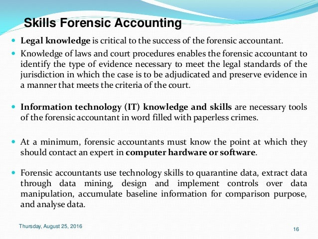 forensic accountant The role of the forensic accountant in mediation mediation awareness week is being held from 10th to 15th october 2016 to promote the awareness and use of mediation in.