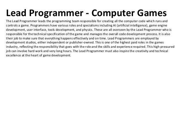 QA Tester - Computer GamesQuality Assurance Technicians, or Testers, perform a vital role, testing, tuning, debugging, and...