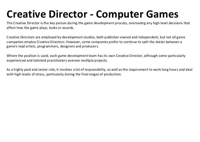job roles in the games industry