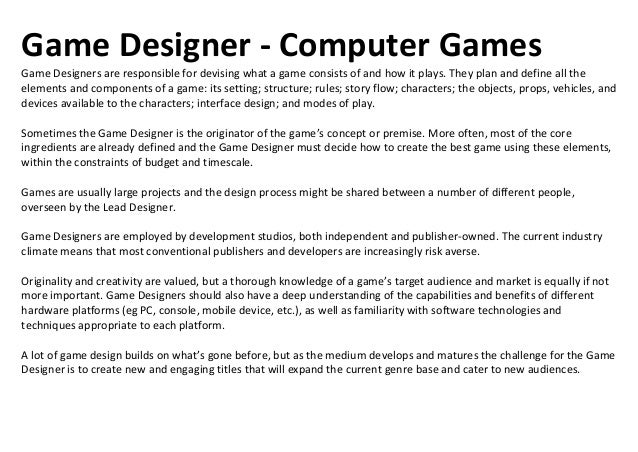 Audio Engineer - Computer GamesThe Audio Engineer creates the soundtrack for a game. This might include music; sound effec...