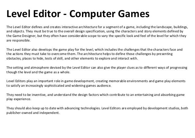 Lead Programmer - Computer GamesThe Lead Programmer leads the programming team responsible for creating all the computer c...