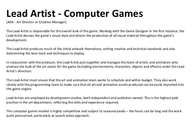 Programmer - Computer GamesProgrammers work at the heart of the game development process. They design and write the comput...