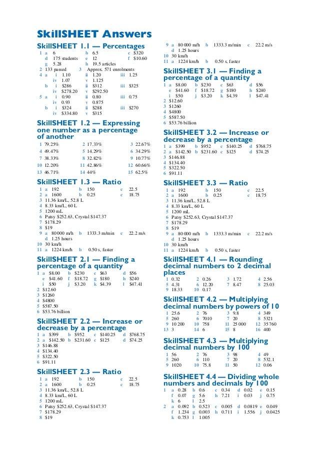 Maths A - Skill sheets answers