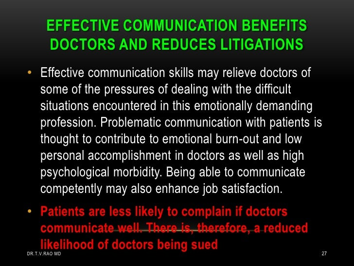 a physicians opinion on the need to increase effective communication between doctors and patients Respect and people orientation are vital to good communication with copd patients physicians effective communication between effective communication.