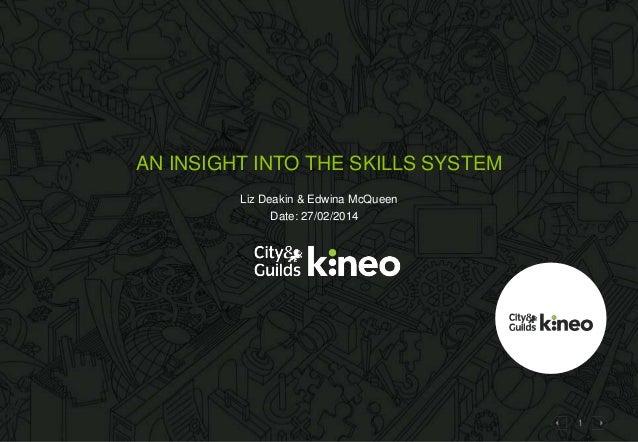 AN INSIGHT INTO THE SKILLS SYSTEM Liz Deakin & Edwina McQueen Date: 27/02/2014  1