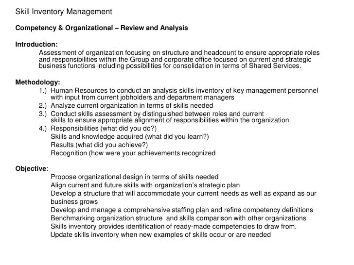 Skill Inventory ManagementCompetency & Organizational – Review and AnalysisIntroduction:       Assessment of organization ...