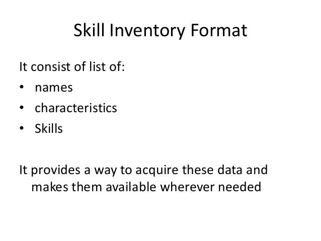 Skill Inventory Format ...
