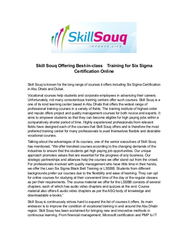 Skill Souq Offering Best In Class Training For Six Sigma Certificati