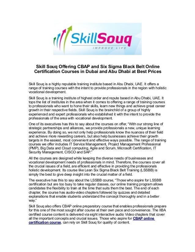 Skill Souq Offering Cbap And Six Sigma Black Belt Online Certificatio