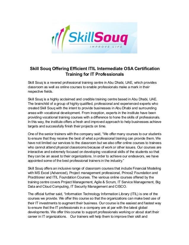 Skill Souq Offering Efficient Itil Intermediate Osa Certification Tra