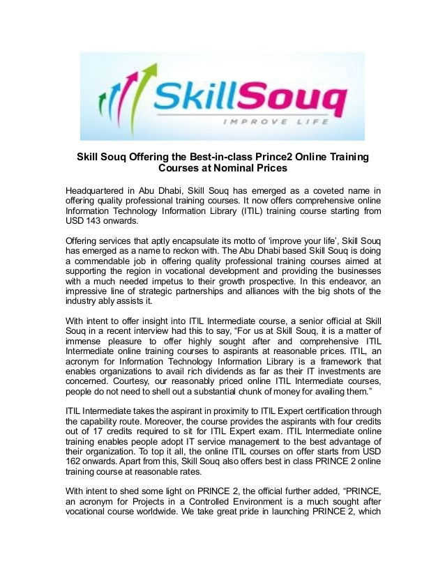 Skill Souq Offering The Best In Class Prince2 Online