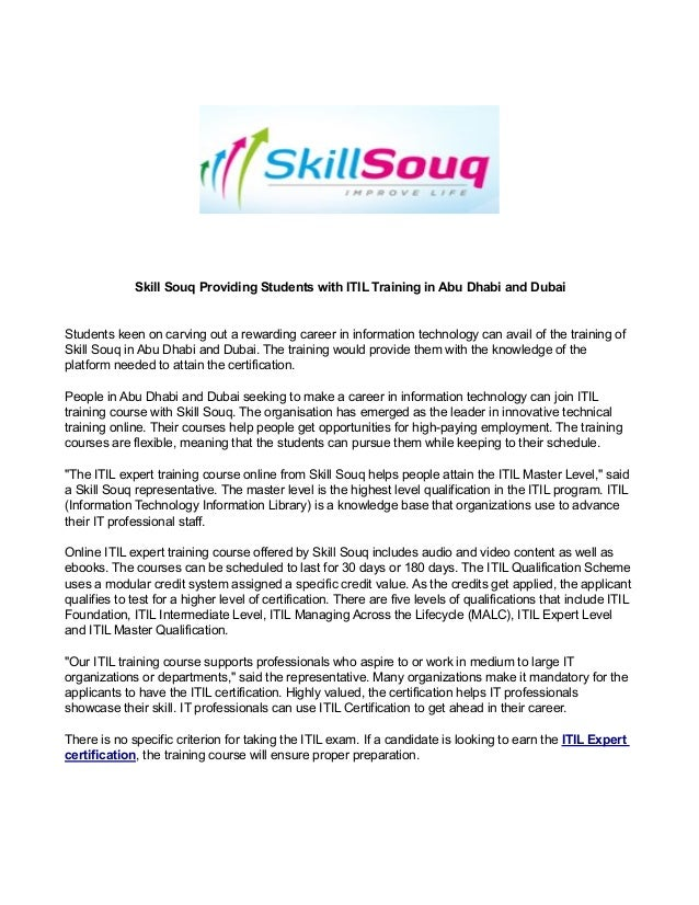Skill Souq Providing Students With Itil Training In Abu Dhabi And Dub