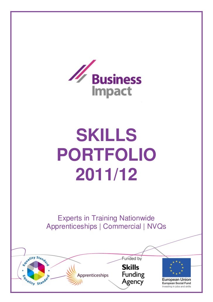 SKILLS  PORTFOLIO    2011/12   Experts in Training NationwideApprenticeships | Commercial | NVQs