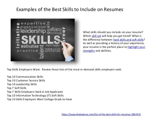 skills to include on your resumes