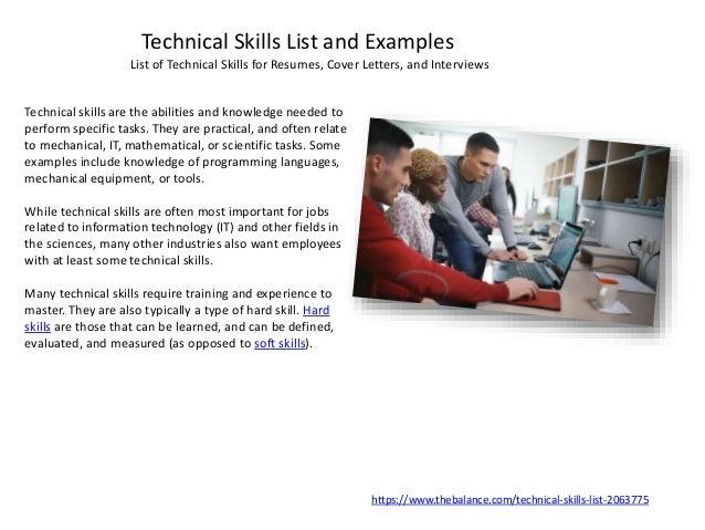 hard skills list resumes
